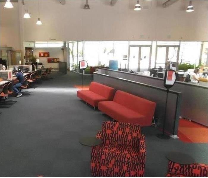 red sofas and carpeted floor now dry in the center