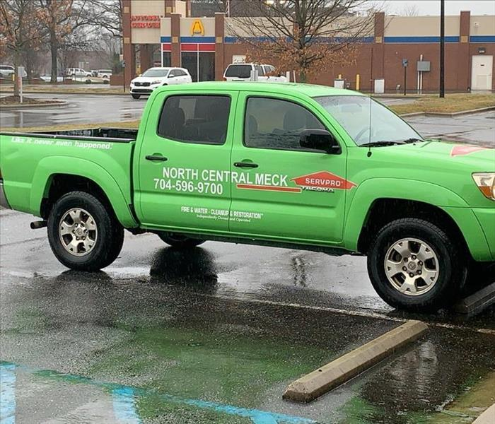 side view of SERVPRO pickup service vehicle parked