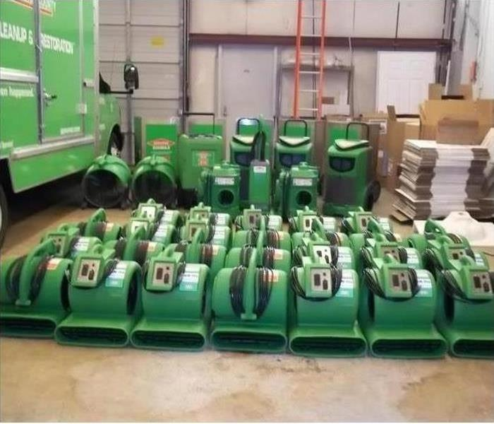 Air Movers and Dehumidifiers in warehouse